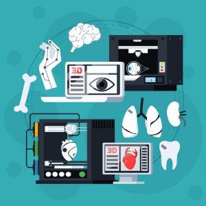 image of 3D Printer with tools, organs, teeth
