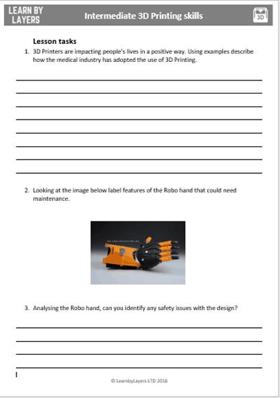 Student task sheet