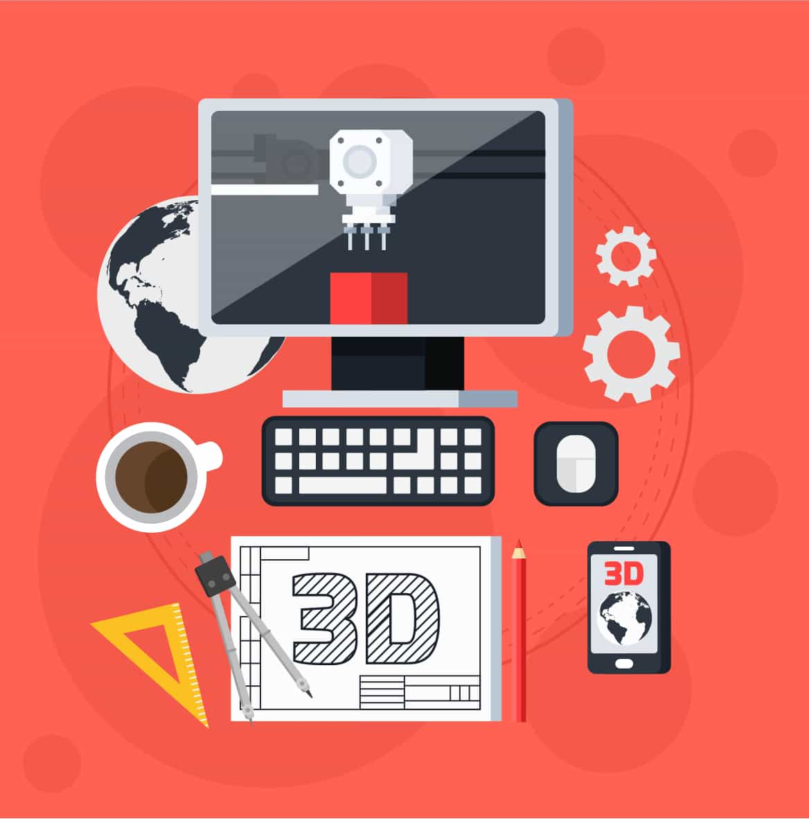 graphic of computer with drawing equipment