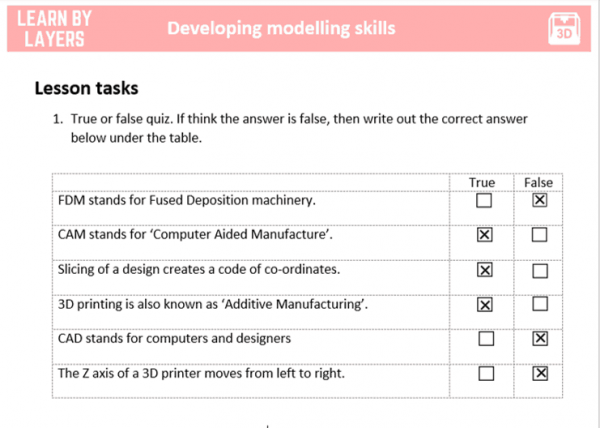 lesson task worksheet