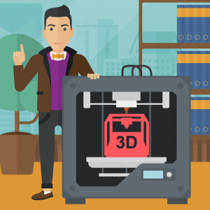cartoon of man standing next to a 3d printer