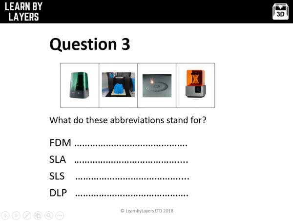Image showing a question on different types of 3D printers