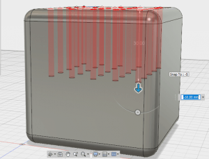 3d printed cube with holes extruded