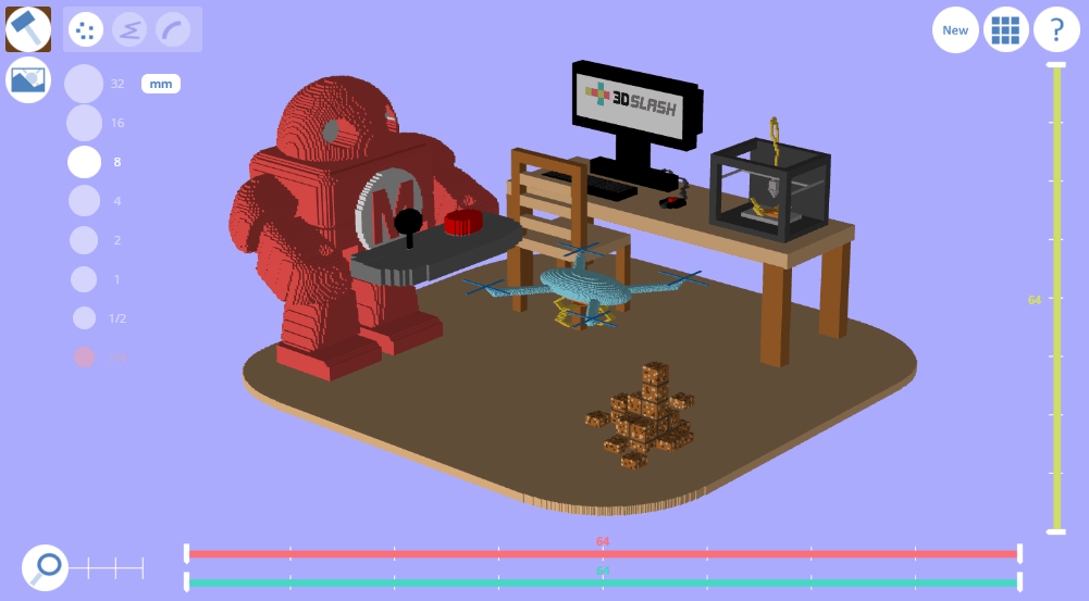 3d slash robot in office