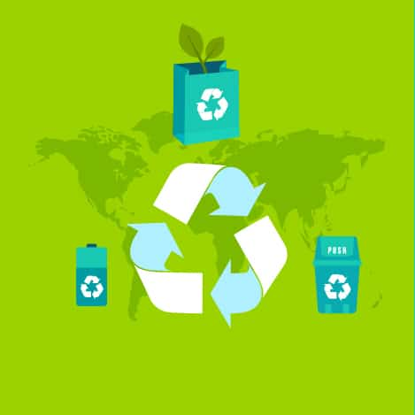recycling image with a green background