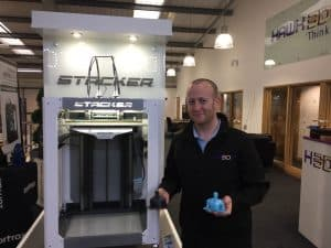 Ben next to the stacker 3d printer