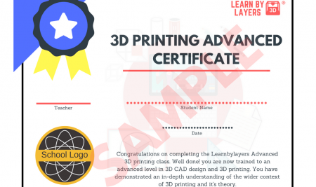 3D printing Certificate for schools