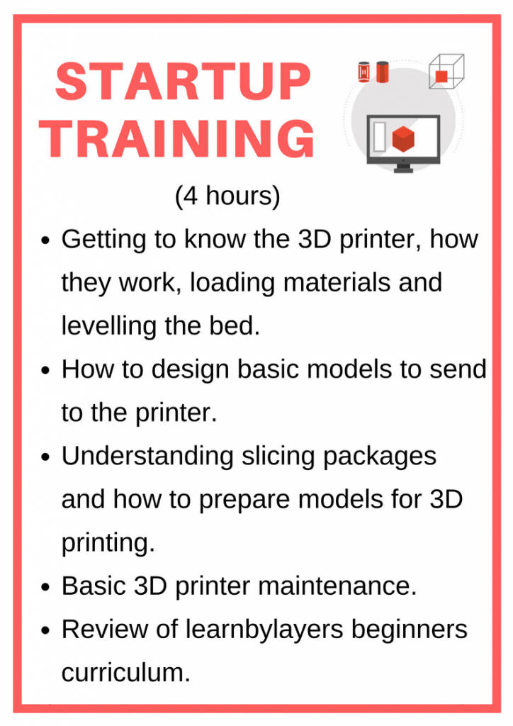 startup 3d printing training