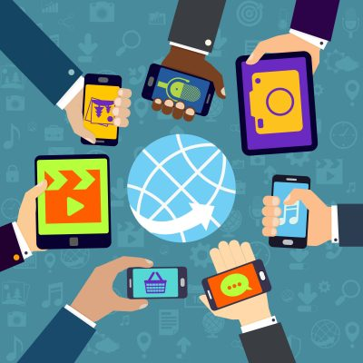 images of hands holding mobile phones and tablets