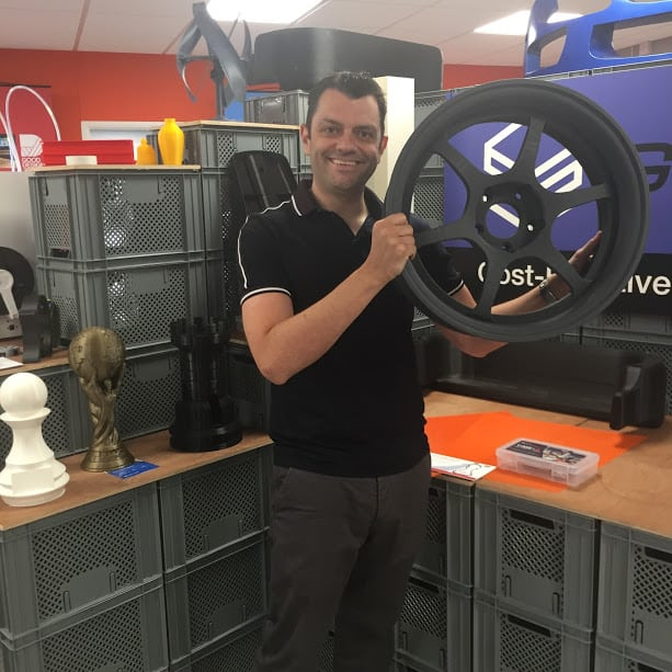 phil cotton with 3d printed wheel
