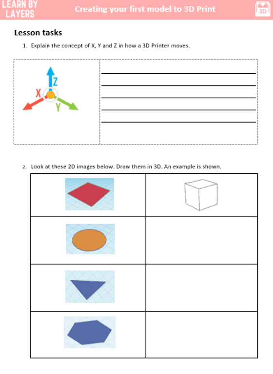 3d printing worksheet