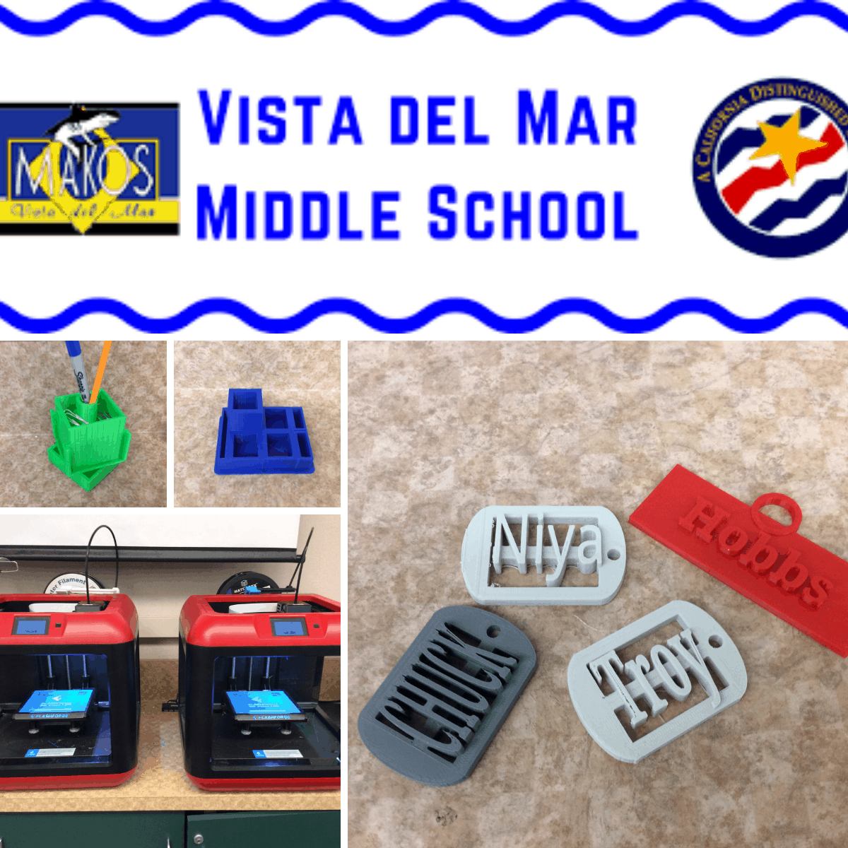 3d printed models from vista del mar middle school