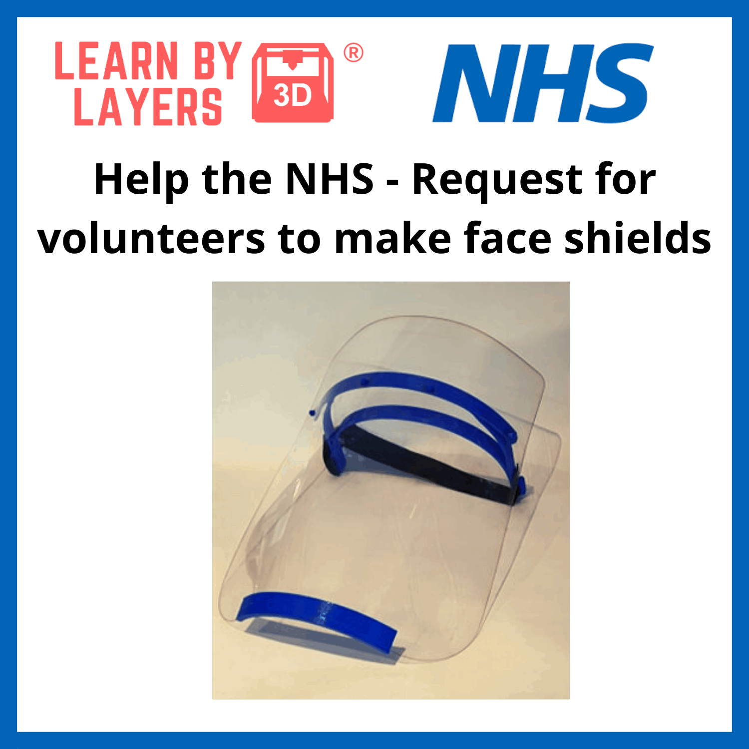 NHS 3D printing face shield