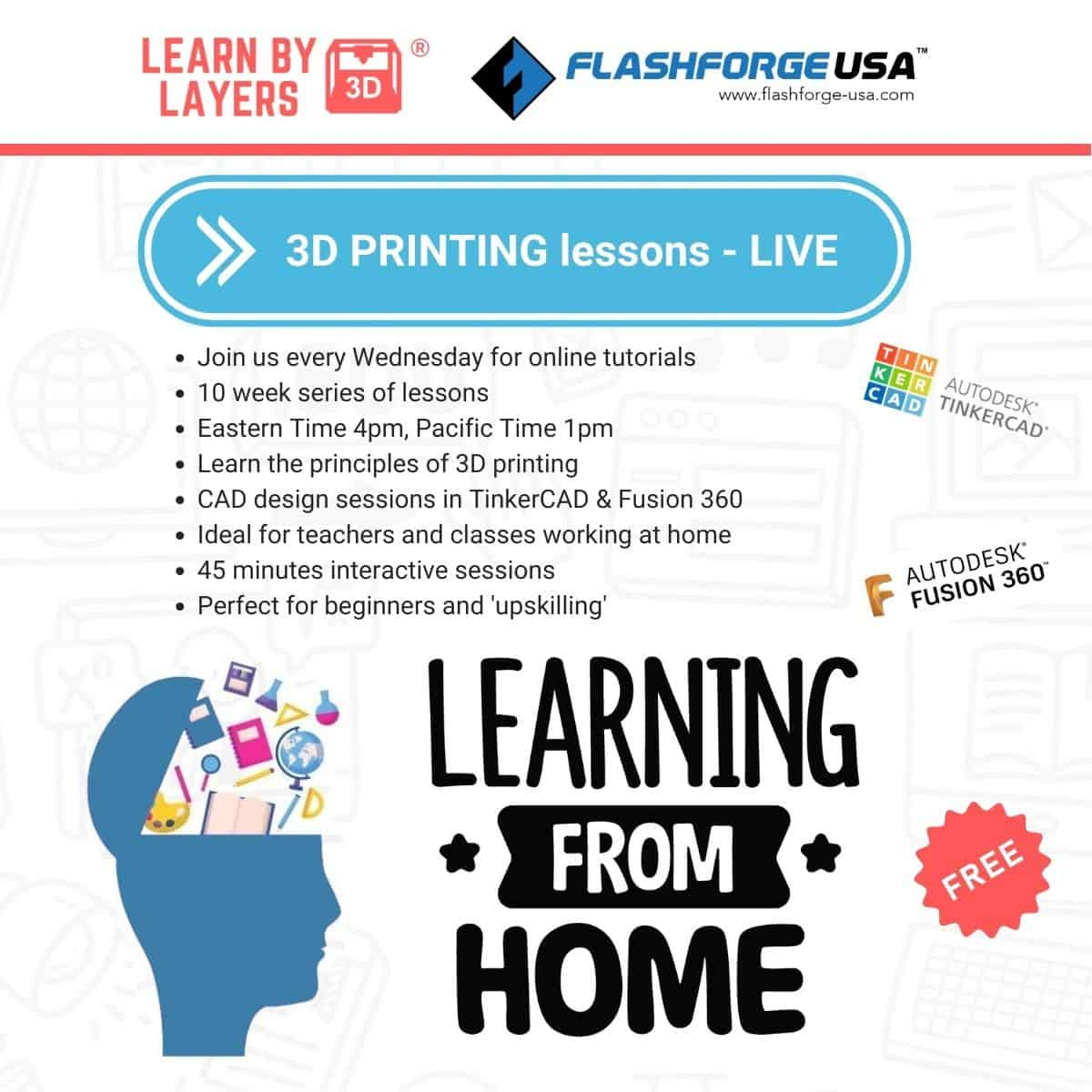 learnbylayers and flashforge live lessons