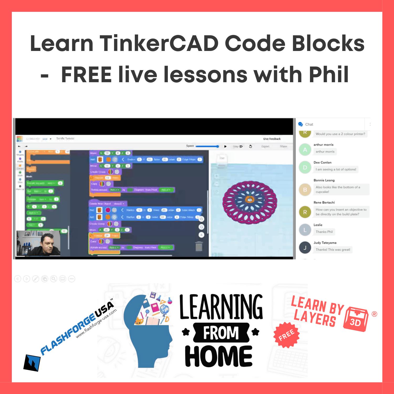 Tinkercad code blocks live